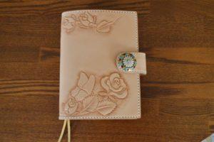 手帳カバー薔薇と蝶1