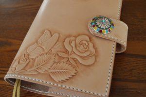 手帳カバー薔薇と蝶2